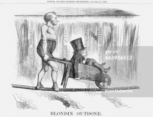 """Blondin Outdone"" in Punch, or the London Charivari, October 8, 1859"