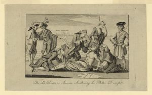 """Cartoon shows Lord North, with the ""Boston Port Bill"" extending from a pocket, forcing tea (the Intolerable Acts) down the throat of a partially draped Native female figure representing ""America"" whose arms are restrained by Lord Mansfield, while Lord Sandwich, a notorious womanizer, restrains her feet and peeks up her skirt. Britannia, standing behind ""America"", turns away and shields her face with her left hand."