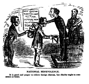"John Wilson Bengough, ""National Benevolence,"" Grip, 28 February 1880. Via G. Bruce Retallak."