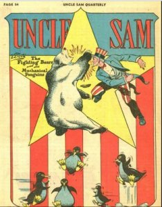 The Golden Age Racist Bears of Alaska are from Uncle Sam Quarterly #4 (1942).