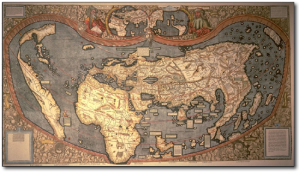 Colored, facsimile copy of Waldseemüller's 1507 map