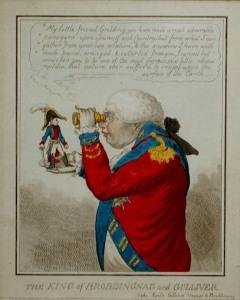 """""""The King of Brobdingnag and Gulliver. – Vide. Swift's Gulliver: Voyage to Brobdingnag."""" James Gillray, 26 June 1803."""