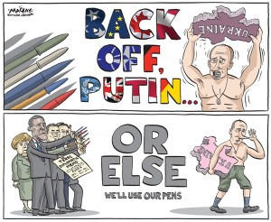 Editorial cartoon by Graeme MacKay, Hamilton Spectator, 4 March 2014
