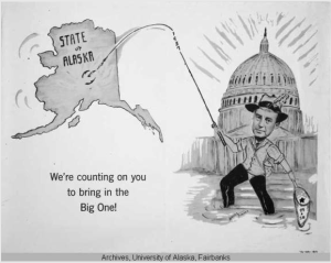 Cartoon by Helen Fischer advocating statehood for Alaska and Hawaii Description 1957 Political cartoon of the head of a person who appears to be Adlai Stevenson fishing to make Alaska and Hawaii the 49th and 50th states. The U.S. Capitol Building is in the background with a fisherman holding a fishing rod with the state of Alaska hooked in the Fairbanks region and a net with the 49th and 50th stars in it, and a Hawaii fly hooked on the fisherman'; s hat