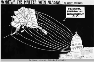 "Ernest F. Jessen cartoon, ""What's the matter with Alaska? Too many strings!"" (circa 1920)"