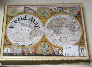 World map playing cards.