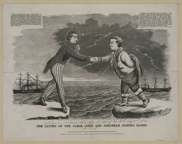 """The laying of the cable---John and Jonathan joining hands,"" c. 1858."