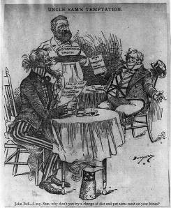 "Uncle Sam's Temptation [to try John Bull's menu of ""conquest & foreign aggression"" rather than his own ""anti-annexation broth"" & Monroe Doctrine,"" Clifford Berryman, c. 1898."