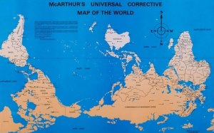 "Also known as ""An Australian's View of the World,"" ""McArthur's Universal Corrective Map of the World"""
