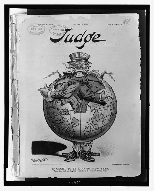 """It ought to be a happy new year Uncle Sam and his English cousin have the world between them,"" Victor Gillam, Judge, 7 January 1899."