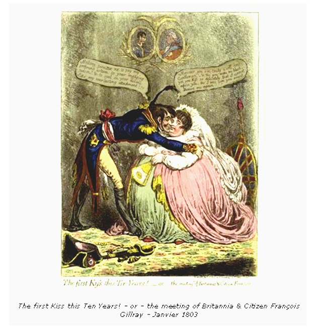 """The first kiss this ten years,"" Gillray, January 1803"