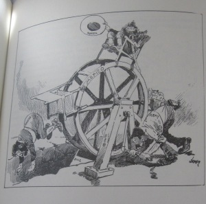 """The Wheel of Fortune,"" James Donahey, Cleveland Plain Dealer, 1913 (as seen in Latin America in Caricature by John J. Johnson, page 225)."