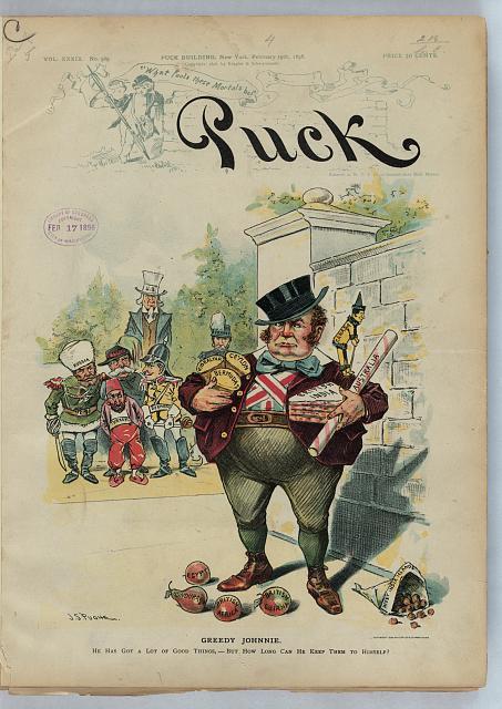 """""""Greedy Johnnie,"""" J.S. Pughe, Puck, 19 February 1896"""
