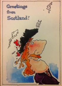 Rupert Besley's Greetings from Scotland postcard.