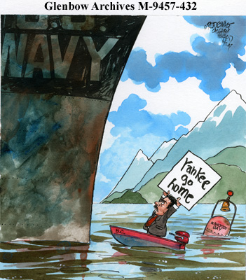 British Columbia Premier Glen Clark,  confronts a United States Navy ship in Nanoose Bay. Vance Rodewalt - Calgary Herald - August 17, 1997, via the Glenbow Museum.