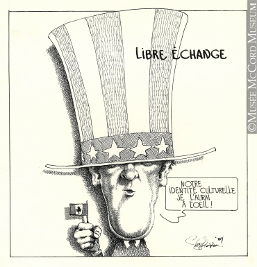 """Free Trade"" by Serge Chapleau, 1985, via McCord Museum"