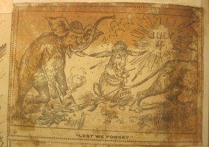 """Lest we forget,"" in [Scrapbook of political cartoons from American newspapers] circa 1890-1920. Newberry call number: scrapbook – oversize NC1420 .S37."