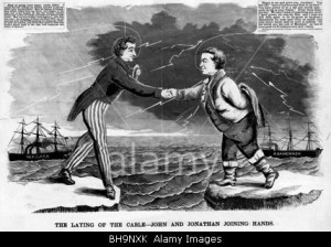 BH9NXK The laying of the cable---John and Jonathan joining hands - Cartoon commemorating the transatlantic cable - August 17, 1858.