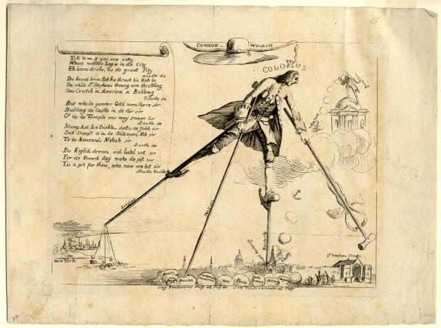 """The Colossus,"" 1766, showing William Pitt on stilts. Seen in Image of America in Caricature and Cartoon, Amon Carter Museum of Western Art, 1975, page 46."