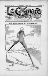 """""""DE MONCTON A WINNIPEG,"""" Le Canard, 5 septembre 1903"""
