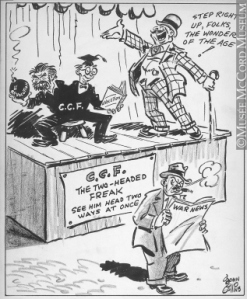 John Collins, The Gazette,  Montreal, 30 November 1943, via the McCord Museum (as seen in Great Canadian Political Cartoons, Volume 2)