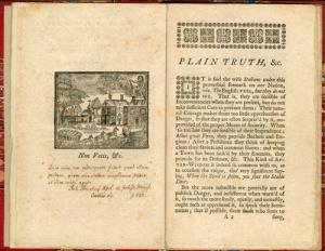 "Figure 1 - Benjamin Franklin, ""Non Votis,"" Plain Truth, 1746."