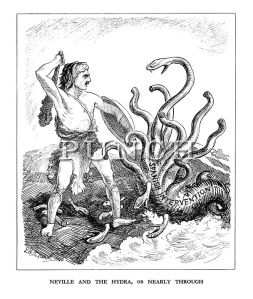"""Neville and the Hydra, or Nearly through,"" 29 June 1938, Punch"